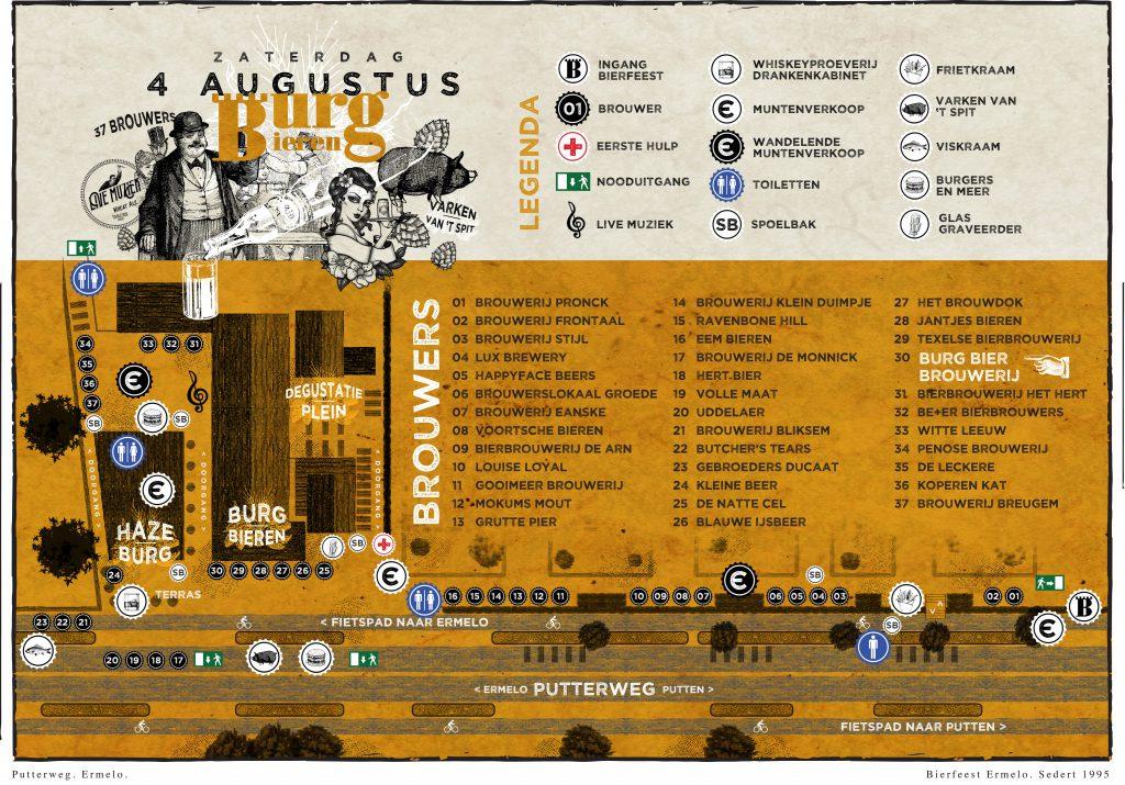 Plattegrond-Burg-Bieren Bierfeest-Poster-A3-zaterdag 2018